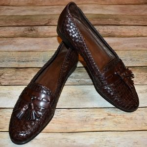 Cole Haan Brown Tassel Woven Leather Loafers 8AAAA